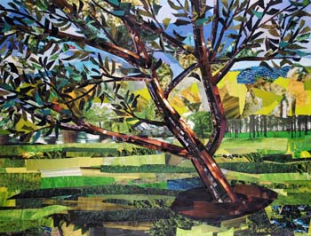 "Title: A Tree in the Park<br> Medium: Collage on paper<br> Size: 12""x16""<br> Copyright © by Megan Coyle<br><br>"