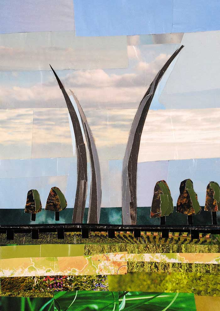 Afternoon at the Air Force Memorial by collage artist Megan Coyle