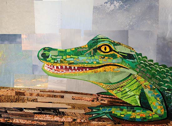 Alligator by collage artist Megan Coyle
