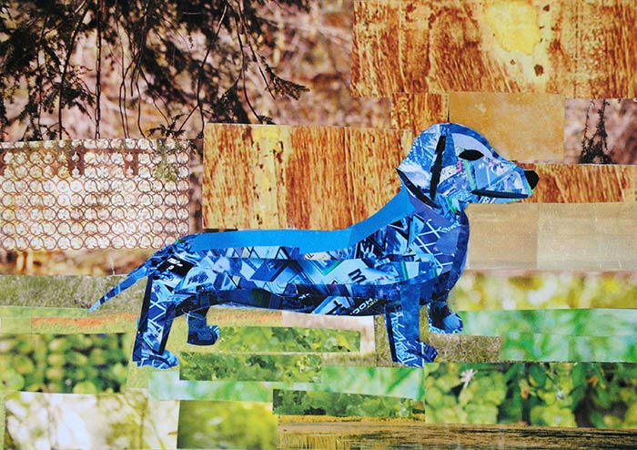 Blue Dachshund's Day Out by collage artist Megan Coyle