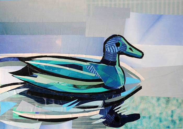 Blue Duck by collage artist Megan Coyle