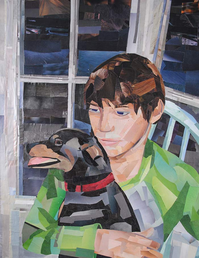 Boy with Dog by collage artist Megan Coyle