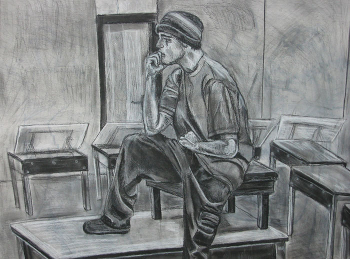 Charcoal figure by Megan Coyle