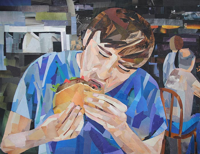 Chow Time by collage artist Megan Coyle