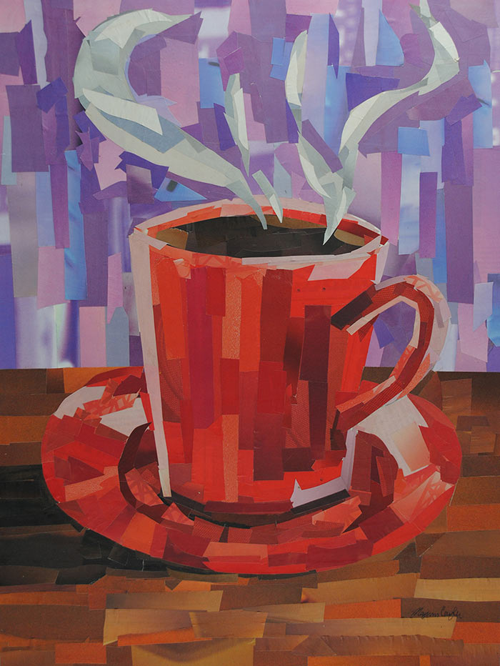 Red Coffee Cup by collage artist Megan Coyle