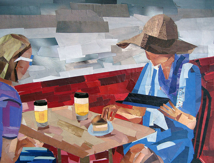 The Coffee Drinkers by collage artist Megan Coyle