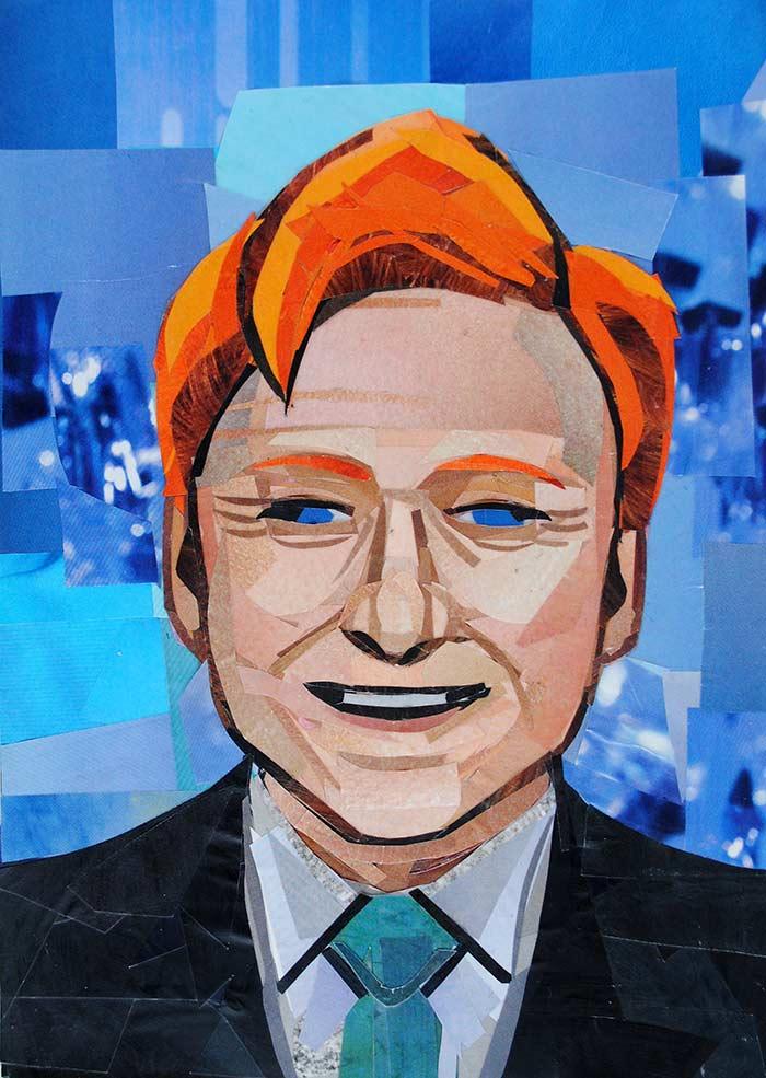 Conan O'Brien by collage artist Megan Coyle