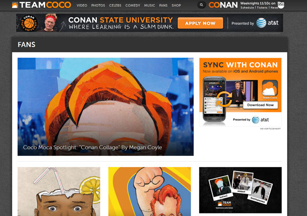 Megan Coyle's collage spotlighted on Conan's Website