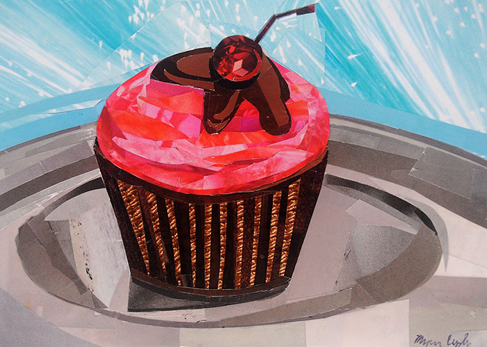 Cupcake Time by collage artist Megan Coyle