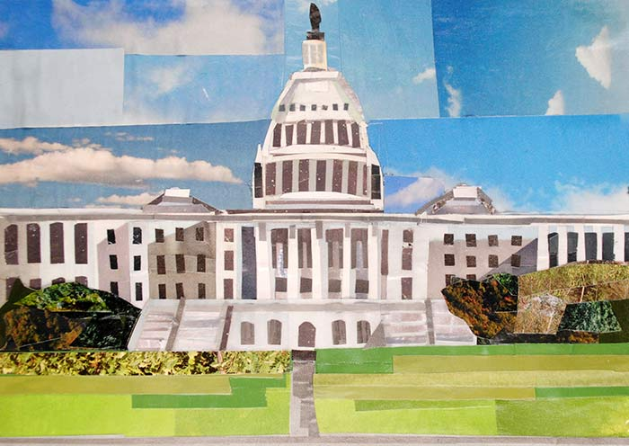 Daytime at the Capitol by collage artist Megan Coyle