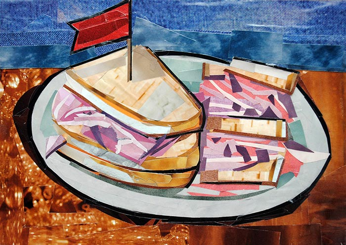 Deli Sandwich by collage artist Megan Coyle