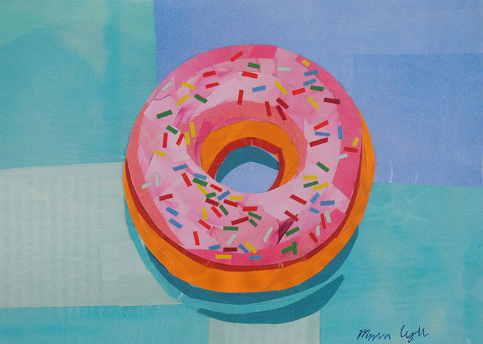Donut Worry by collage artist Megan Coyle