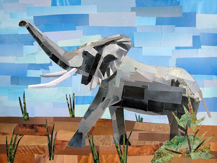 Elephant by collage artist Megan Coyle