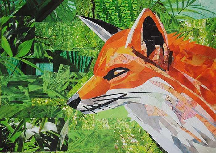 Foxy collage by collage artist Megan Coyle
