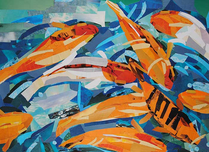 Goldfish Pond collage by Megan Coyle
