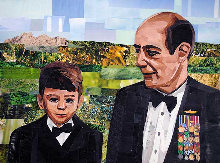 Grandfather and Grandson by collage artist Megan Coyle