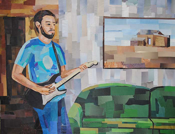 Guitar Man by collage artist Megan Coyle