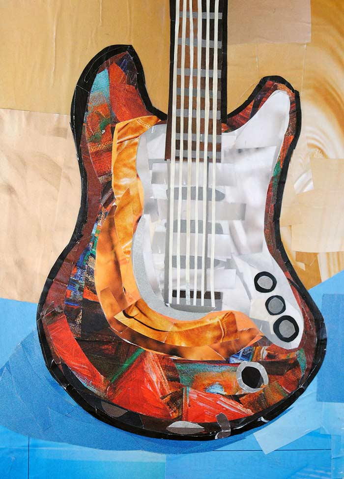 Guitar by collage artist Megan Coyle