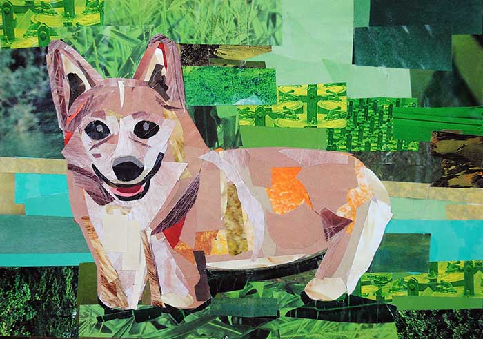 Happy as a Corgi by collage artist Megan Coyle