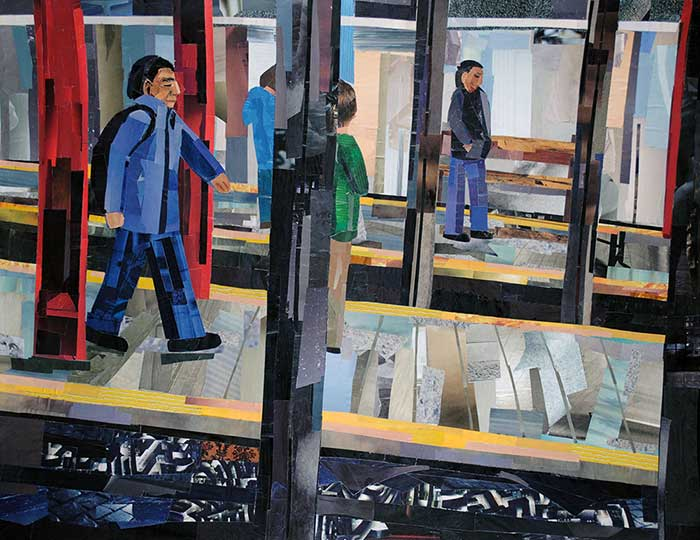 Hide and Seek on the Subway by collage artist Megan Coyle