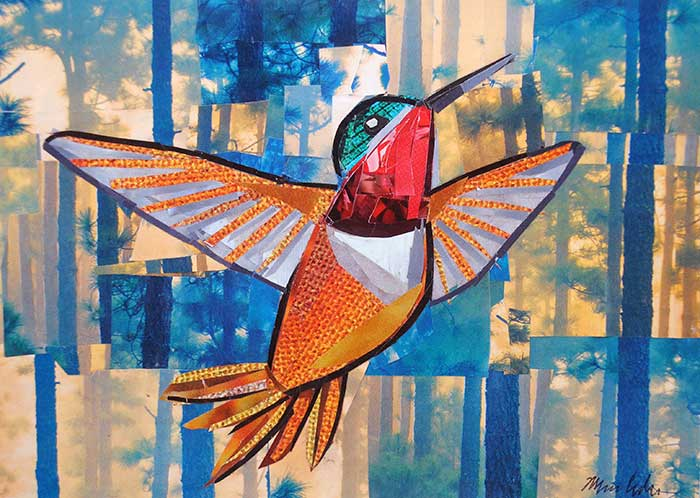 Hummingbird in the Woods by collage artist Megan Coyle