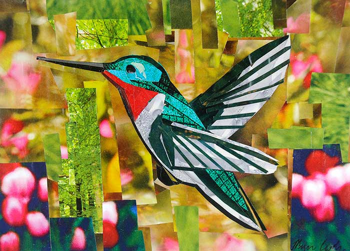 Hummingbird by collage artist Megan Coyle
