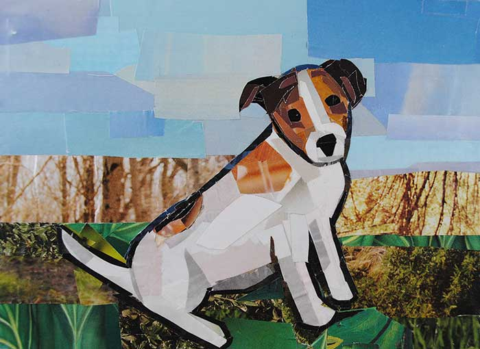 Jack Russell Terrier by collage artist Megan Coyle