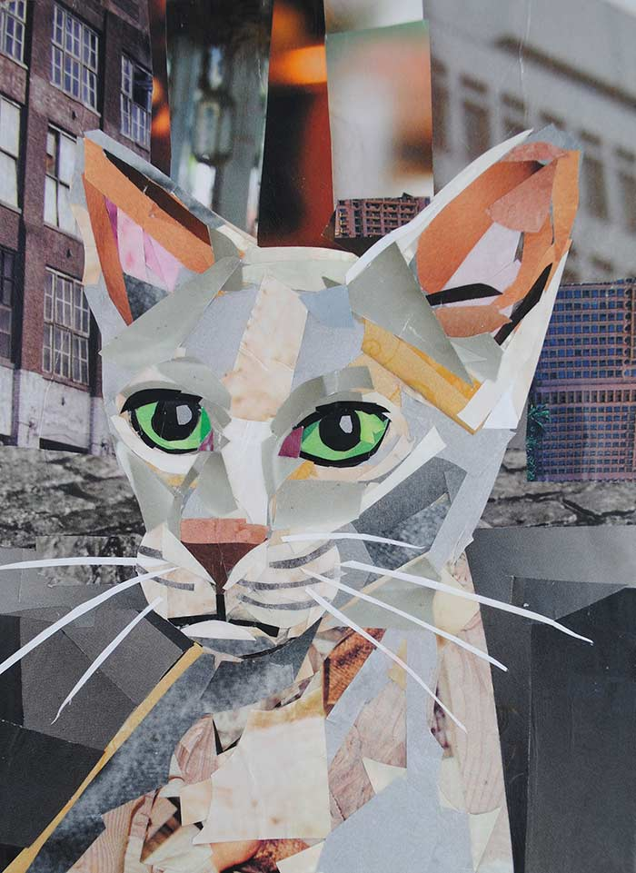 Kitty in the City by collage artist Megan Coyle