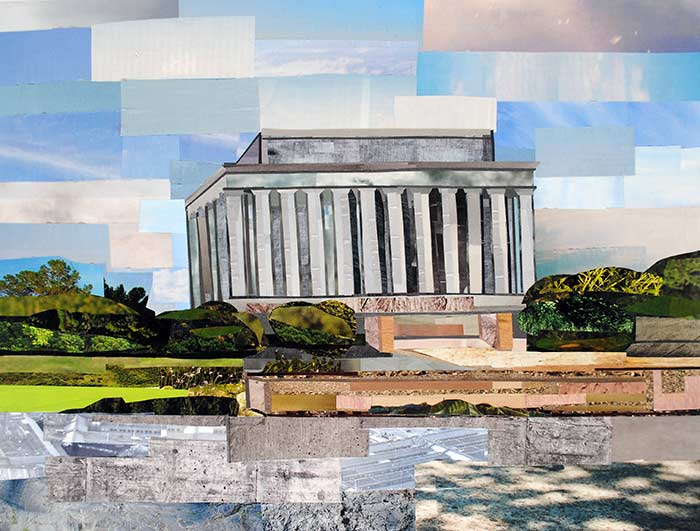 Lincoln Memorial by collage artist Megan Coyle
