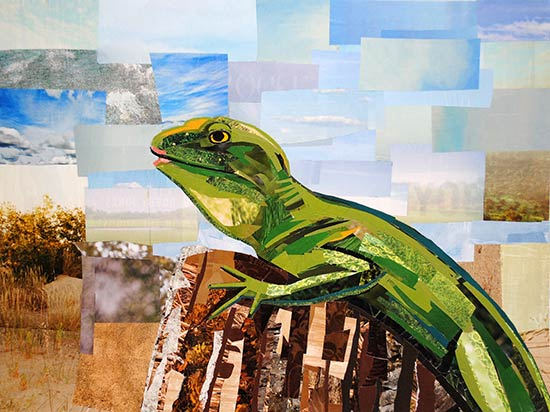 Lipstick Lizard by collage artist Megan Coyle