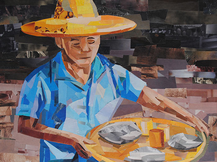Man at the Market by collage artist Megan Coyle