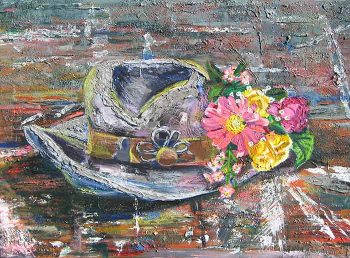 Hat Oil Painting by collage artist Megan Coyle