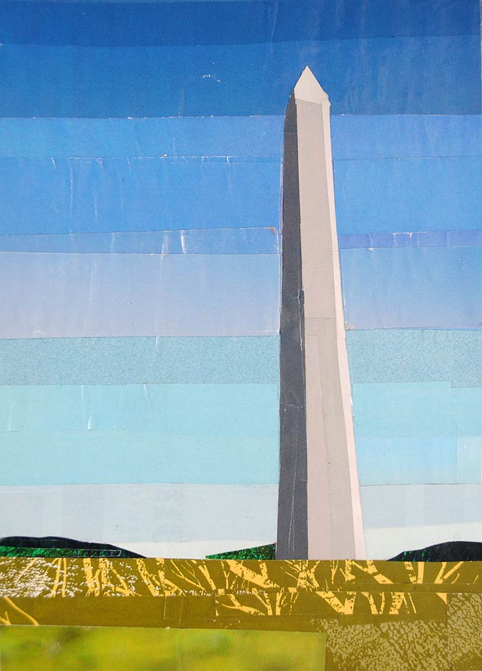 Morning at the Washington Monument by collage artist Megan Coyle