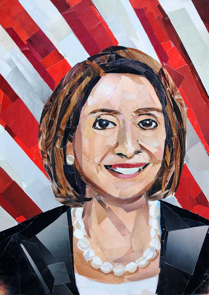 Nancy Pelosi by collage artist Megan Coyle