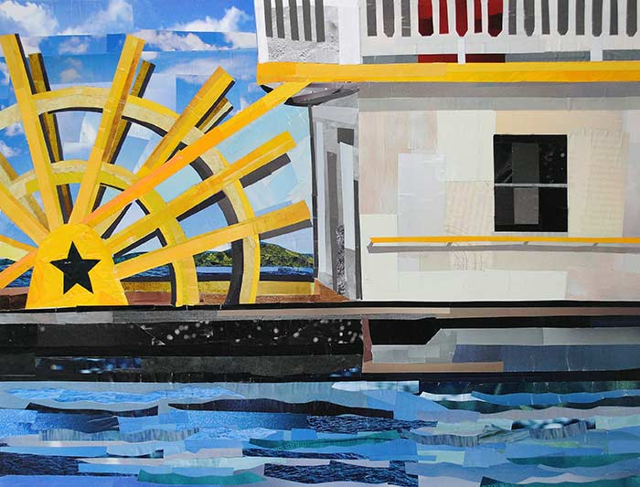 Old Town Boat by collage artist Megan Coyle