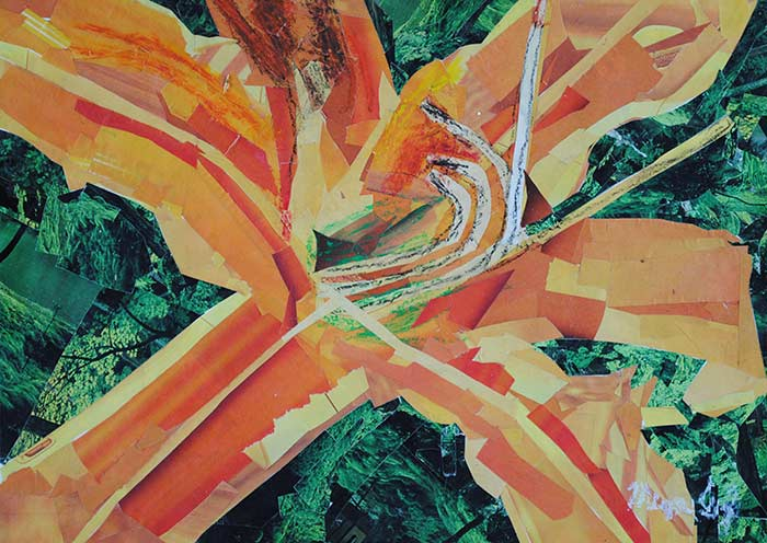 Orange Lily by collage artist Megan Coyle