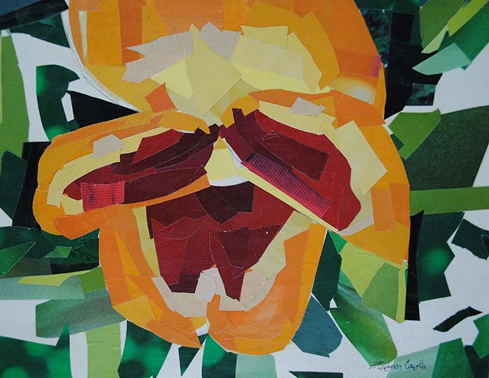 Warm Color Pansy by collage artist Megan Coyle