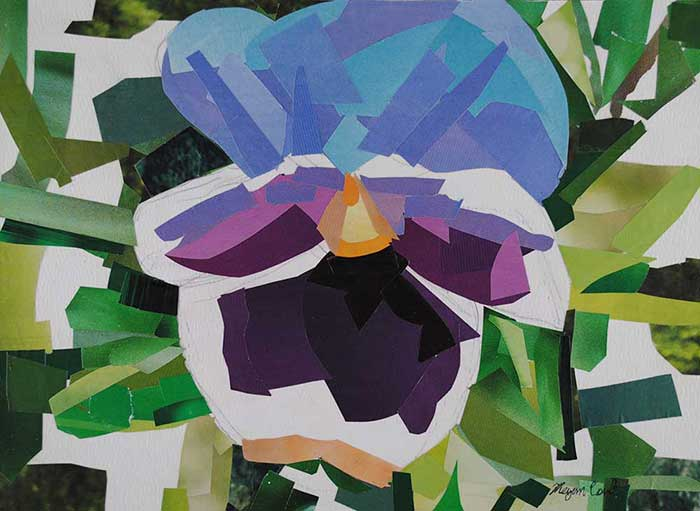 Purple Pansy by collage artist Megan Coyle