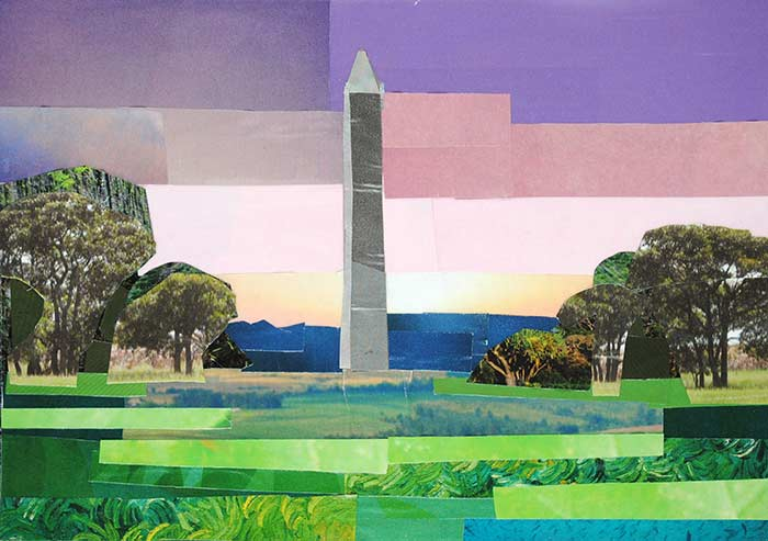 Pastel View of the Washington Monument by collage artist Megan Coyle