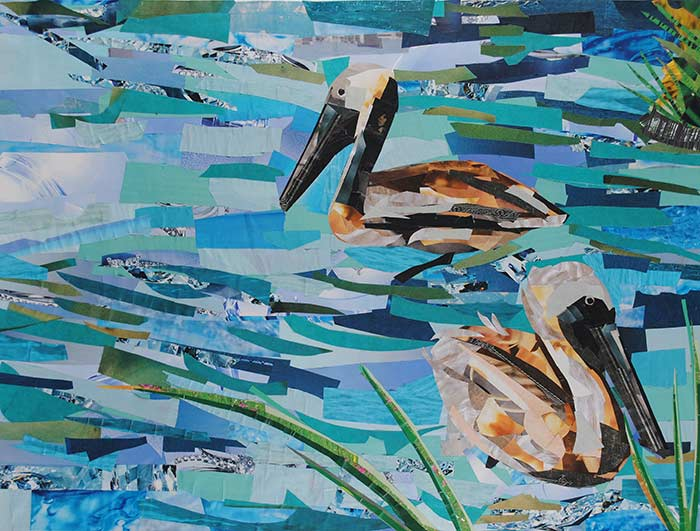 Pelicans by collage artist Megan Coyle