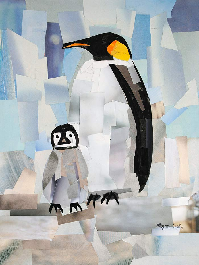 Mr Penguin and Baby Penguin by collage artist Megan Coyle