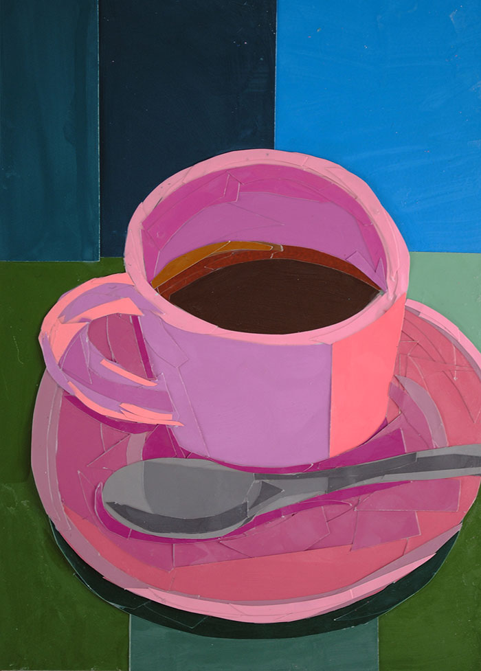 Pink Coffee Cup by collage artist Megan Coyle