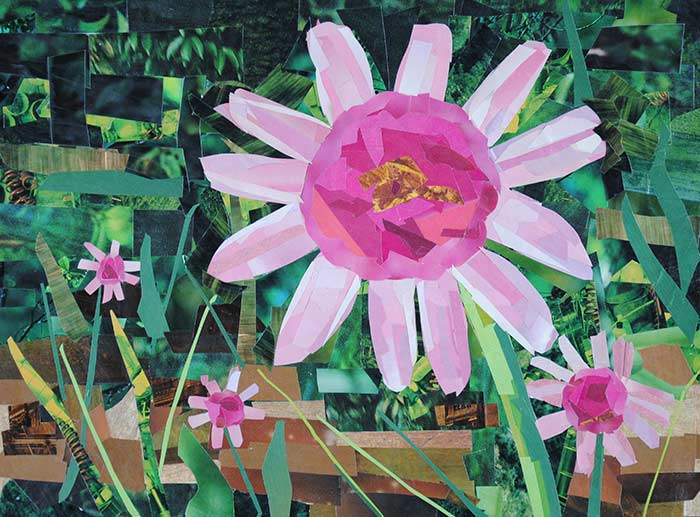 Pink Flowers by collage artist Megan Coyle
