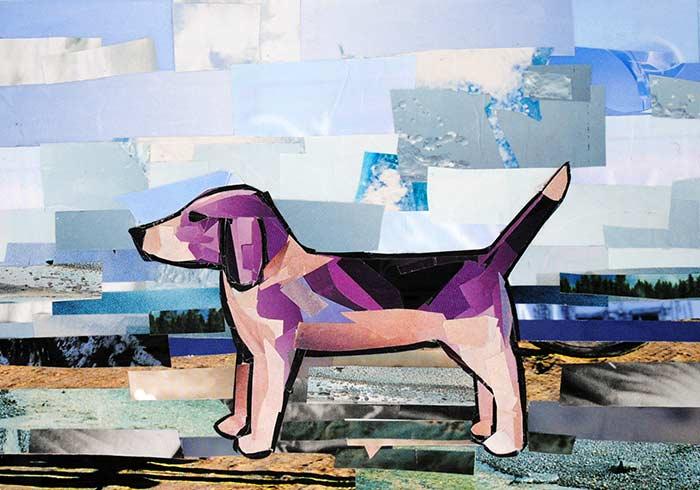 Purple Beagle by collage artist Megan Coyle