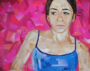 Figure Posed in front of Pink by collage artist Megan Coyle
