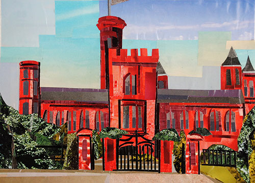 Smithsonian Castle by Day by collage artist Megan Coyle