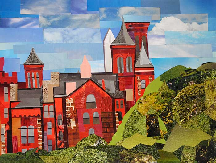 Smithsonian Castle by collage artist Megan Coyle