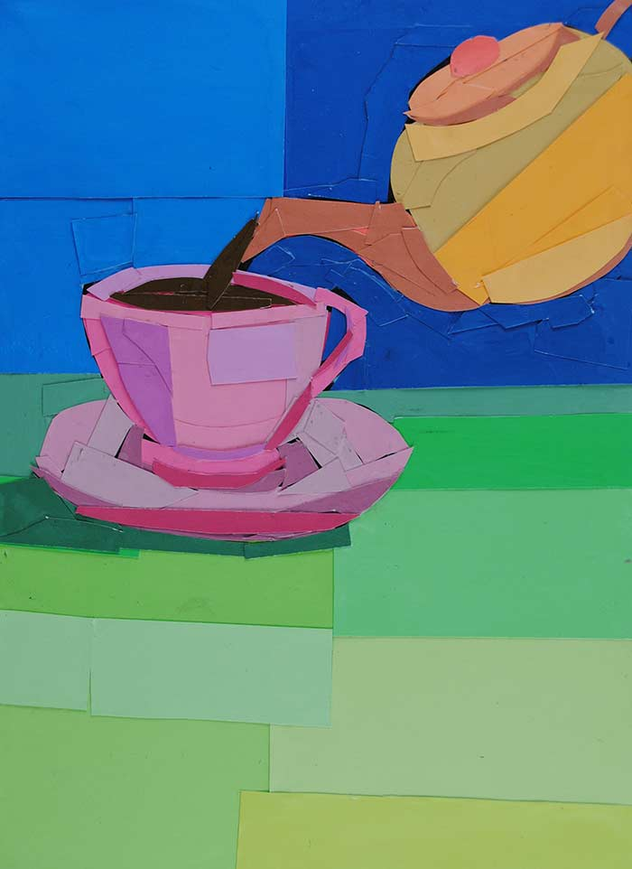 Spring Tea by collage artist Megan Coyle