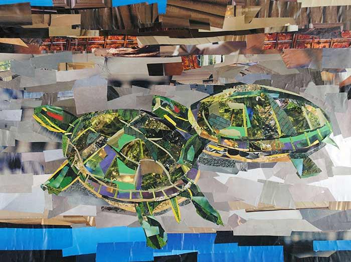 Sunbathing Turtles by collage artist Megan Coyle