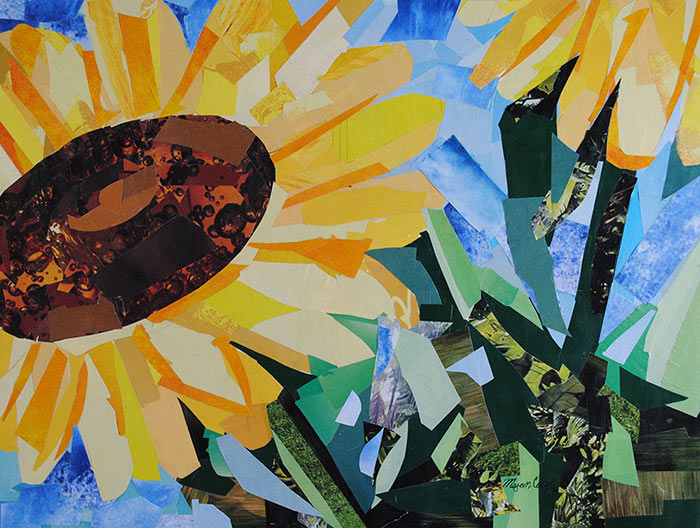Sunflowers by collage artist Megan Coyle